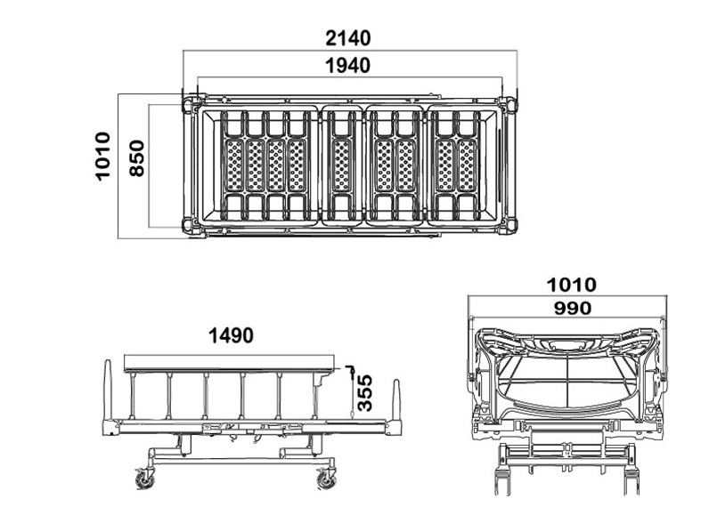manual hospital beds dimensions